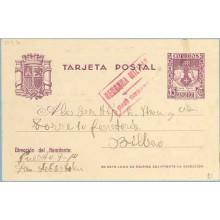 1938. R. Católicos.15 c. violeta. San Sebastián a Bilbao. Marca Censura Militar San Sebastián, en rojo (Laiz 81) 24€