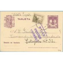 1939. R. Católicos.15 c. violeta + 5 c. sepia. Cid (Ed. 816) Marca Censura Militar Avila (Laiz 81Fg) 35€