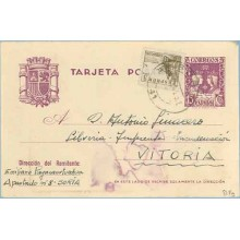 1942. R. Católicos.15 c. violeta + 5 c. sepia. Cid (Ed. 816) Soria a Vitoria. Mat. Soria (Laiz 81Fg) 35€