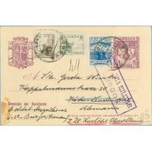 1938. R. Católicos.15 c. violeta + 5 c. sepia. Cid (Ed. 816) + 10 c. verde. Cid (Ed. 817) + sello C. contra el frío. Burgos a Ko