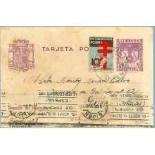 1938. R. Católicos.15 c. violeta + 10 c. negro, azul y rojo. Pro Tuberculosos (Ed. 840) Celanova, Orense a Gijón. Mat. Gijon (La