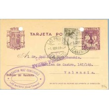 1939. R. Católicos.15 c. violeta + 5 c. sepia (Ed. 816) Las Palmas a Valencia. Mat. Las Palmas (Laiz 81Fq) 35€