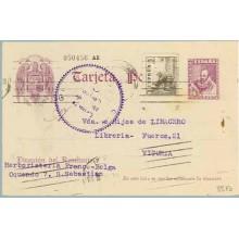 1939. Cervantes.15 c. violeta + 5 c. sepia. Cid (Ed. 816) S. Sebastián a Vitoria. Mat. S. Sebastián. Marca Censura Militar Gijón