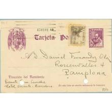 1939. Cervantes.15 c. violeta + 5 c. sepia. Cid (Ed. 816) Barcelona a Vitoria (Laiz 82Fb)20€