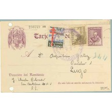 1939. Cervantes.15 c. violeta +10 c. negro, ultramar y rojo. (Ed. 866) + 5 c. sepia. Cid (Ed. 816). S. Sebastián a Lugo. Marca G