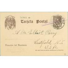 1939. Cervantes. 20 c. castaño. Mataró a U.S.A. Mat. Mataró (Laiz 83) 36€