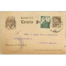1941. 20 c. castaño + 5 c. verde (Barna. Ed. 26) Barcelona a Vitoria. Mat. Barna. (Laiz 86FBe) 36€
