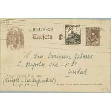 1940. 20 c. castaño + 5 c. castaño. (Barna. Ed. 28) Barcelona correo interior (Laiz 86FBg) 35€