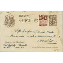 1942. Cervantes. 20 c. castaño + 5 c. castaño. Ayuntamiento (Barcelona Ed. 33) Barcelona a Madrid (Laiz 86FBh) 35€