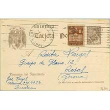 1942. Cervantes. 20 c. castaño sin pie de imprenta. + 5 c. castaño. Ayuntamiento (Barcelona Ed. 33) Barcelona a Rosas, Gerona. M