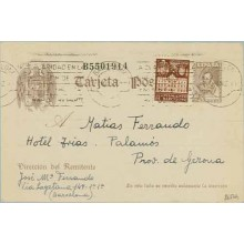 1942. Cervantes. 20 c. castaño sin pie de imprenta.+ 5 c. castaño. Ayuntamiento (Barna Ed. 33) Barcelona a Palamós. Mat. Barcelo