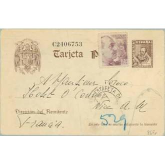 1942. Cervantes. 20 c. castaño + 25 c. lila. Franco (Ed. 923). Barcelona a Nice, Francia. Marca Gubernativa Barcelona (Laiz 86Fv