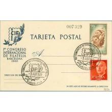 1960. CIF-60. 70 c. castaño + 1 p. rojo. Franco, (Ed. 1290) Mat.1er. Congreso Internacional de Filatelia Barcelona 3 abril (Laiz