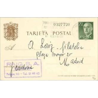 General Franco. 70 c. verde. Barcelona a Madrid. Mat. Barcelona (Laiz 90) 65€