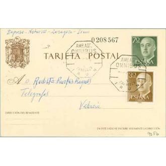 1969. G. Franco. 70 c. verde + 30 c. castaño. Franco (Ed. 1147) Mat. AMB.OMNIBUS Zaragoza IRUN (Laiz 90Fb) 60€