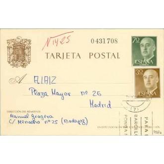 1962. Franco. 70 c. verde + 30 c. castaño. Franco (Ed. 1147) Badajoz a Madrid (Laiz 90Fb) 60€