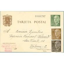 1962. Franco. 70 c. verde + 30 c. castaño. Franco (Ed. 1147) + 50 c. castaño. Franco (Ed. 1149) Madrid a Valencia (Laiz 90Fe) 70