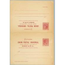 1882. Alfonso XII. 2 c. + 2 c. carmín. Sello situado a la derecha en la tarjeta de ida y a la izquierda en la tarjeta de vuelta