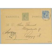 1890. Pelón. 2 c. verde + 1 c. azul. Pelón (Ed. 136) Puerto Prìncipe a Leipzig, Alemania. Mat. Pto. Príncipe y fechador de llega