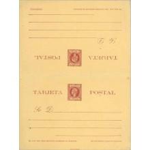 """1898. Infante. 5 m. + 5 m. carmín sobre amarillo. Deformación en la parte inferior de la """"S"""" de Sr. POSTAL, en la tarjeta de ida"""