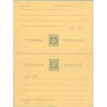 """1898. Infante. 1 c. + 1 c. verde sobre amarillo. Letra """"o"""" de solamente más grande, de 1,5 mm, en lugar de 1 mm, en la tarjeta d"""