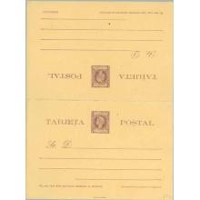 """1898. Infante. 2 c.. + 2 c. violeta sobre amarillo. Deformación en la parte inferior de la """"S"""" de POSTAL, en la tarjeta de ida ("""