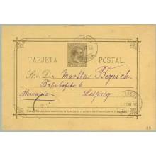 1896. Pelón. 3 c. castaño sobre amarillo. Manila a Leipzig, Alemania. Matasellos Manila y fehador de llegada (Laiz 11B) 420€