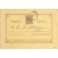 """1896. Pelón. 3 c. castaño sobre amarillo. Rotura en trazo horizontal de la primera """"A"""" de TARJETA. Dirigida a Daet, Filipinas. M"""