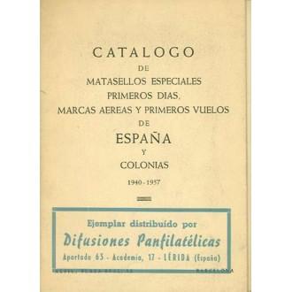 CATÁLOGO DE LOS MATASELLOS ESPECIALES PRIMEROS DÍAS, MARCAS AEREAS Y PRIMEROS VUELOS DE ESPAÑA Y COLONIAS 1940-1957. Barcelona a