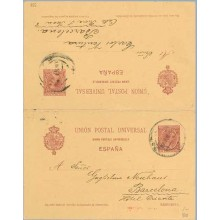 1903. Pelón.10 c. + 10 c. carmín s. salmón. Barna. Mat.Barna (Laiz 33B) 140€