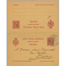 1903. Pelón.10 c. + 10 c. carmín s. salmón. Burgos a Strasbourg. Mat. Burgos (Laiz 33B) 140€
