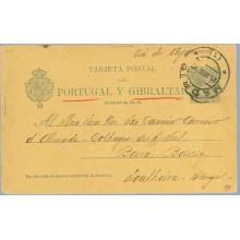 1898. Pelón. 5 c. verde. Madrid a Beira, Portugal. Mat. Madrid (Laiz 34) 35€