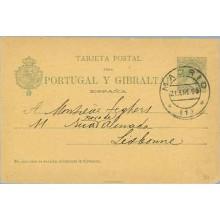 1895. Pelón. 5 c. verde s. salmón. Madrid a Lisbonne. Mat. Madrid (Laiz 34) 42€