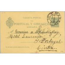 1900. Pelón. 5 c. verde. Madrid a Cintra, Portugal. Mat. Madrid (Laiz 34A) 35€