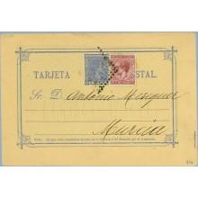1898. Pelón. 5 c. verde + 5 c. azul. Pelón (Ed. 215) Barcelona a Berlin. Mat. Estafeta de Cambio y llegada (Laiz 34Afa) 50€