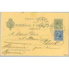 1897. Pelón. 5 c. verde + 5 c. azul. Pelón (Ed. 215) Barcelona a Vilseck, Alemania. Mat. Estafeta de Cambio y llegada (Laiz 34AF