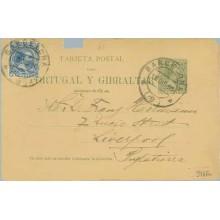 1895. Pelón. 5 c. verde + 5 c. azul. Pelón (Ed. 215) Barcelona a Liverpoll. Deteriorada (Laiz 34AFa) 50€