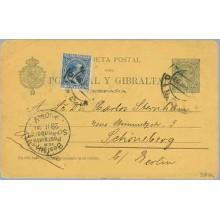 1897. Pelón. 5 c. verde + 5 c. azul. Pelón (Ed. 215) Madrid a Schoneberg. Mat. Madrid y llegada (Laiz 34AFa) 50€