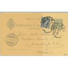 1899. Pelón. 5 c. verde. + 5 c. azul. (Ed.215). Madrid a Frankfurt. Mat. Madrid y llegada (Laiz 34Fa) 50€