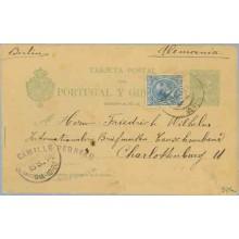 1894. Pelón. 5 c. verde. + 5 c. azul. (Ed.215) Huelva a Berlín. Mat. Huelva y llegada (Laiz 34Fa) 50€