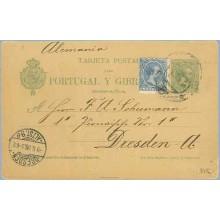 1898. Pelón. 5 c. verde + 5 c. azul. Pelón (Ed. 215) Barcelona a Dresden. Mat. Barcelona y llegada (Laiz 34Fa) 50€
