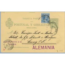 1895. Pelón. 5 c. verde + 5 c. azul. Pelón (Ed. 215). Málaga a Coswig. Mat. Málaga y fechador de llegada (Laiz 34Fa) 50€