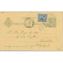 1894. Pelón. 5 c. verde + 5 c. azul. Pelón (Ed. 215). Sevilla a Bruselas. Mat. Sevilla y fechador de llegada (Laiz 34Fa) 50€