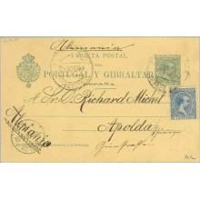 1899. Pelón. 5 c. verde + 5 c. azul. Pelón (Ed. 215) Barcelona a Apolda. Mat. Barcelona y fechador de llegada (Laiz 34Fa) 50€