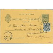 1896. Pelón. 5 c. verde + 5 c. azul. Pelón (Ed. 215) Madrid a Kunigunde. Mat. Madrid y fechador de llegada (Laiz 34Fa) 50€