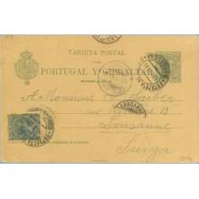 1894. Pelón. 5 c. verde + 5 c. verde. Pelón (Ed. 216) Barcelona a Lausanne. Mat. Barcelona y fechador de llegada (Laiz 34Ff) 70€