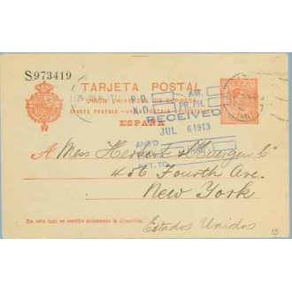 1914. Medallón.10 c. rojo s.azulado. Madrid a N.Y. Mat. Madrid, marca Received (Laiz 53) 36€