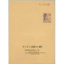 Matrona. 20 c. violeta. fragmento. Sin impresión del nombre del titular, a Viena (Laiz 1196A) 20€