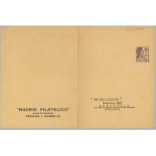 Matrona. 20 c.violeta. MADRID FILATÉLICO. Madrid. Circulado de Madrid a Rotterdam. Raro (Laiz 1196A) 210€