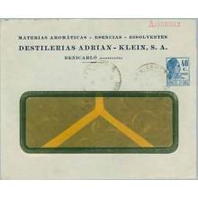 DESTILERIAS ADRIAN - KLEIN, S.A. Benicarló. Sobre 40 c. azul. Matrona (Laiz 1292) 160€